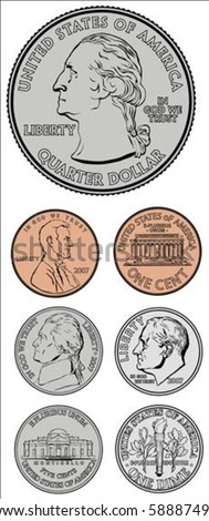 set of vector coins all pieces
