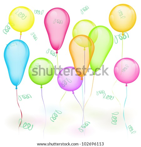 Set of vector colored balloons on white. Yellow, red, green, blue