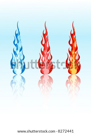 Set of 3 vector colored flames