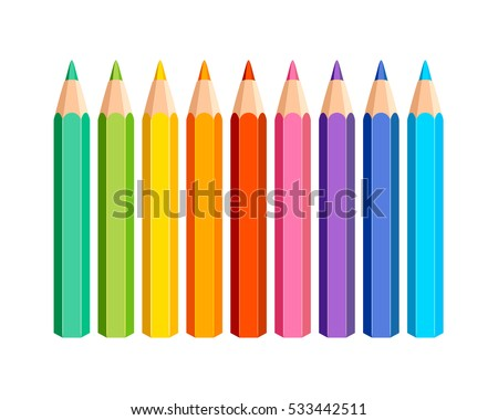Set of vector colored pencils on white background