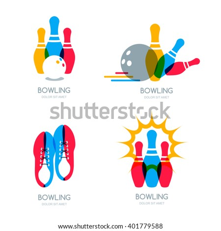 Set of vector colorful bowling logo, icons and symbol. Bowling ball, bowling pins and shoes illustration. Trendy design elements, isolated on white background.