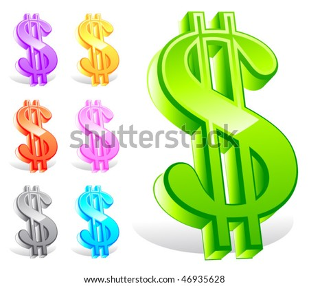 Set of vector colorful dollar symbols