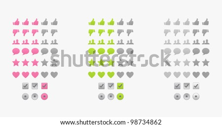 Set of vector colorful icons (rating, talk, like, favorite, heart, check) - stock vector