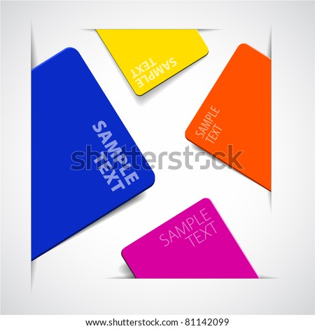 Set of vector colorful paper cards with place for your text
