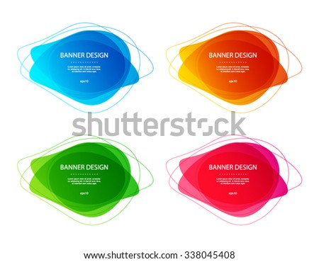 Set of vector colorful round abstract shapes. Banner design