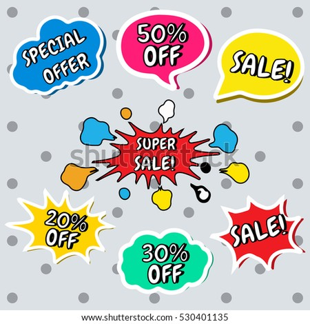 Set of vector colorful stickers in cartoon, comics style with text in speech bubbles. Sale, % off, special offer, super sale. Website badges. Black friday. Online shopping #530401135