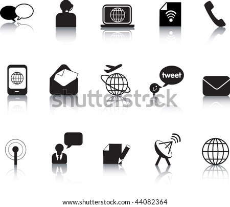 Set of vector communication icon button silhouettes