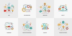 Set of vector conceptual flat line illustrations. Creative and creation, thoughts and ideas. Silhouette of a head, bulb gear, cloud, brain, speech balloon. Vector illustration