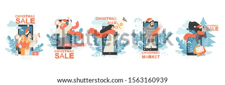 Set of vector conceptual illustrations with people advertising Christmas markets and sales on the background of huge smartphones. Image for online applications, banners or flyers.