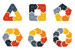 Set of vector connected infographic diagrams. Circular charts with 3, 4, 5, 6, 7, 8 options. Paper progress steps for tutorial. Business concept sequence banners. EPS10 polygonal workflow layouts.