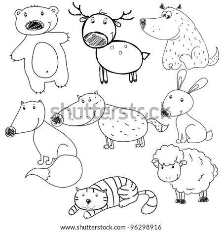 set of vector contours of toy  toy rabbit, deer, bear, wolf, cat, dog, fox, sheep, Coloring