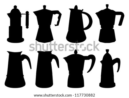 Set of vector contours of typical italian coffee-maker