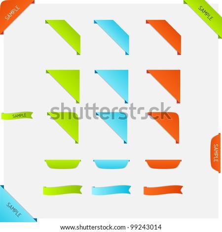Set of vector corner page ribbons