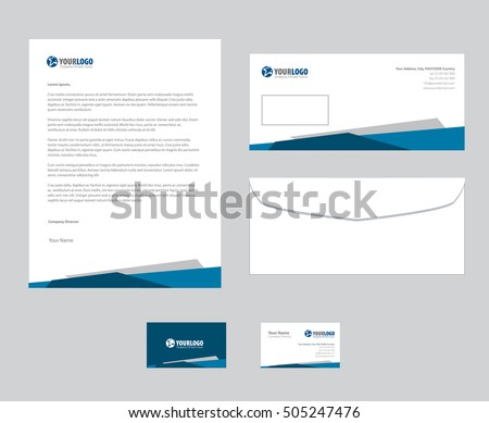 Modern blue business stationery vector template set download free set of vector corporate identity templates modern business stationery design friedricerecipe Images