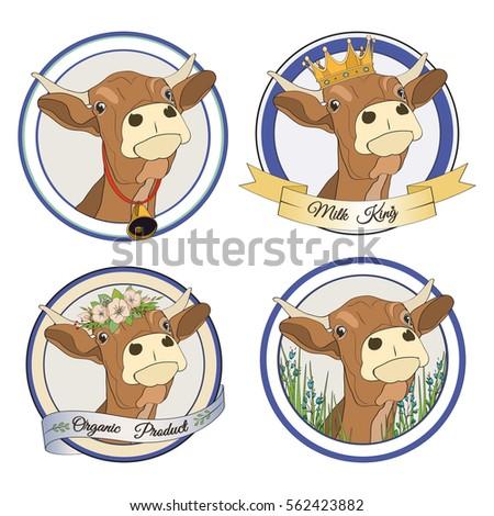 set of vector cows for logos