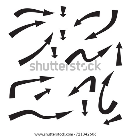 Set of vector  curved arrows hand drawn. Sketch style. Collection of pointers isolated.