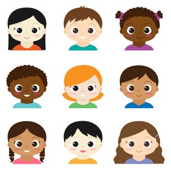 Set of vector cute boys and girls avatars on white background.
