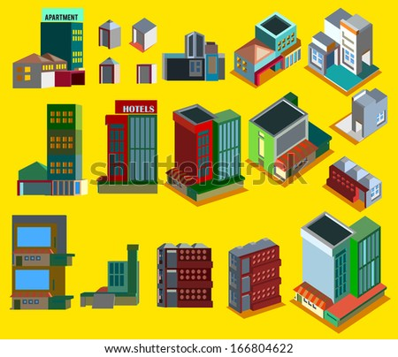 Set of vector cute buildings on a yellow background