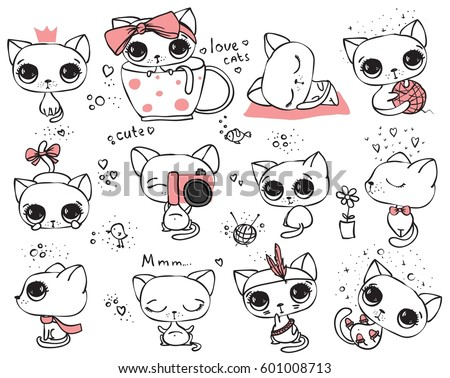 set of vector cute cats in
