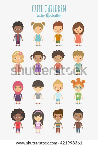 set of vector cute children
