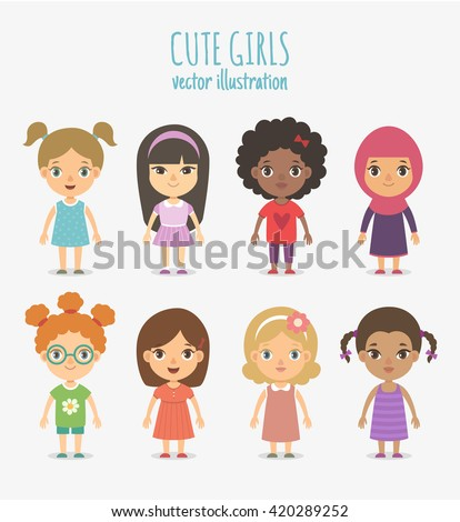 set of vector cute girls