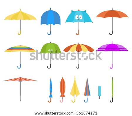 Set of vector cute multicolor umbrellas in flat design style. Closed and open fashion icons. Cover accessory. Modern style. Protection from rain and sun