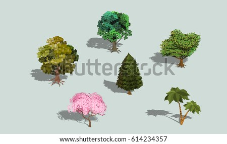 set of vector 3d isometric
