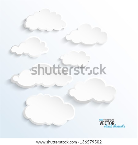 Set of vector 3D paper clouds