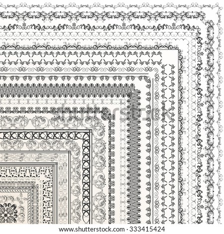 Set of vector decorative borders from ornament for design #333415424