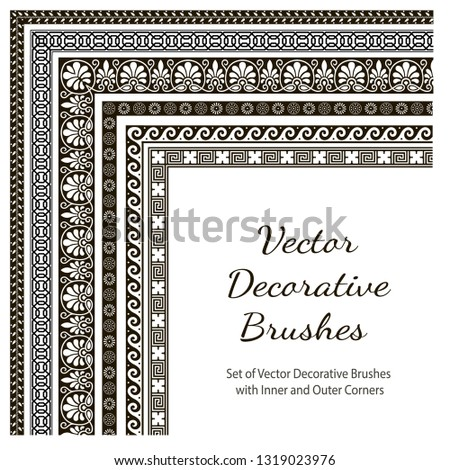 Set of Vector Decorative Color Brushes. Vector Decorative Brushes with Inner and Outer Corners. Seamless Borders for Patterned Frames.
