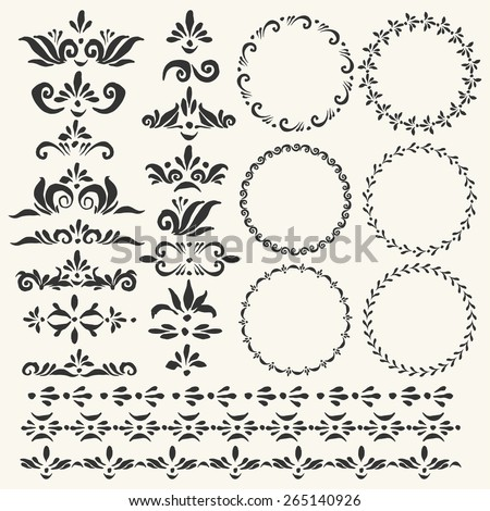 Set of vector decorative elements and used pattern brushes included. Round frames with hand drawn ornamental strokes, headers and corners. Cute black wreaths and stripe ornaments.