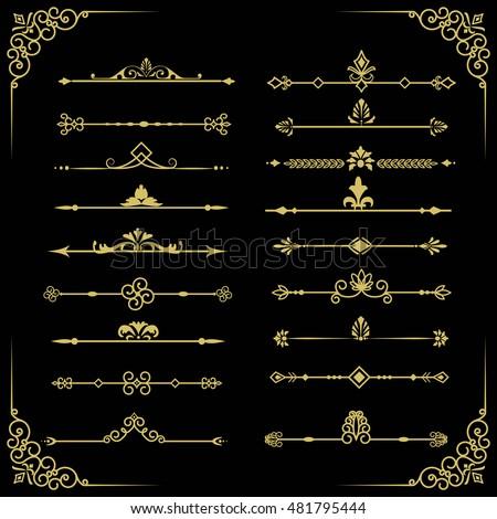 Set of vector decorative vintage gold thin dividers. Vintage elements for your design.