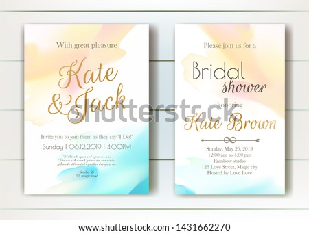 Set of vector delicate invitations with abstract background for wedding, marriage, bridal shower, birthday, Valentine's day. Invitation template