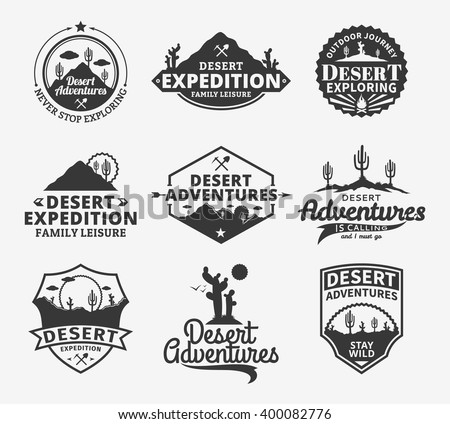 set of vector desert adventures