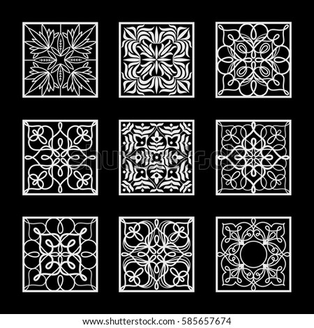 Set of vector design element. Template for creating logo, icon, symbol, emblem, monogram. Linear decoration. Illustration white pattern on black background. Concept of  unusual abstract luxury decor.