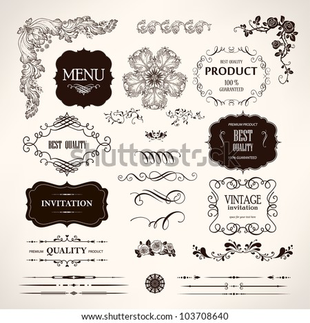 Set of vector design elements and calligraphic page decoration - stock vector