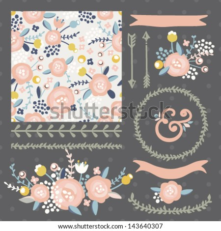 Set of vector design elements, including seamless pattern, floral vignettes, borders, wreaths and ribbons. Hand drawn floral collection.