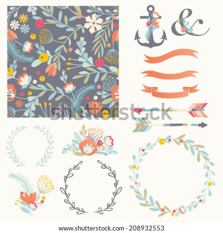 Set of vector design elements including seamless pattern floral vignettes wreaths and ribbons Hand drawn floral collection