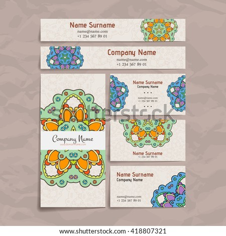 Set of vector design templates. Brochures in random colorful style. Vintage frames and backgrounds. Business card with floral circle ornament. Mandala style. - Shutterstock ID 418807321