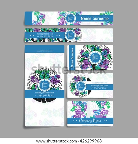 Set of vector design templates. Brochures in random colorful style. Vintage frames and backgrounds. Business card with tree in hand draw style. Hipster style. - Shutterstock ID 426299968