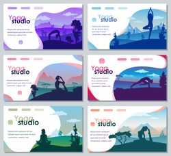 Set of vector designs for poster, magazine, brochure, booklet, web page. Practicing yoga on the nature with mountains and trees on a background.