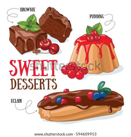 set of vector desserts