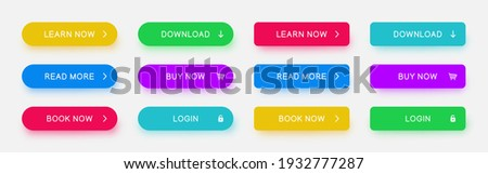 Set of vector different colors web buttons. Flat minimalist buttons with color shadows for website, apps, ui, games.