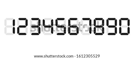 set of vector digital numbers on white background for digital calculator