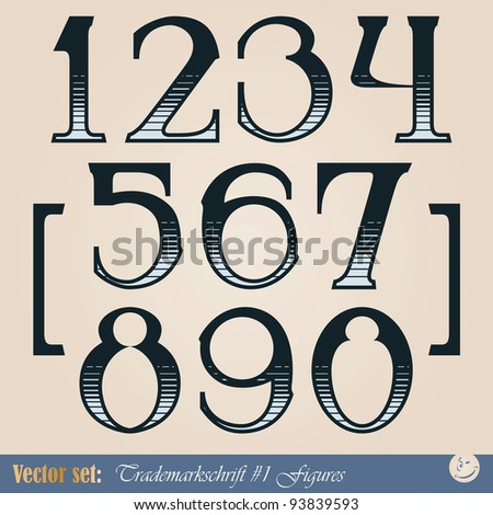 Set of vector digits of the alphabet in the style of the old signs