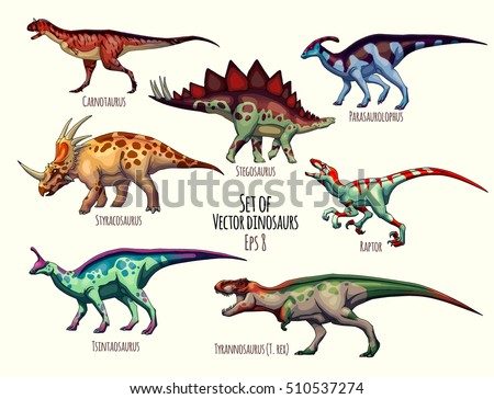 set of vector dinosaurs vector