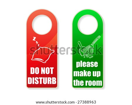 set of vector do not disturb and clean up room signs