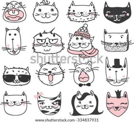 set of 16 vector doodle cute...