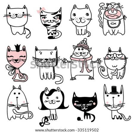 set of 12 vector doodle cute