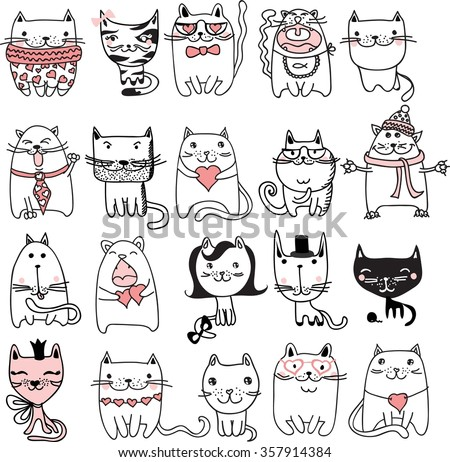 set of 20 vector doodle cute